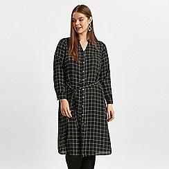 Evans - Black grid print shirt dress