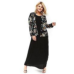 Evans - Black maxi dress with floral kimono