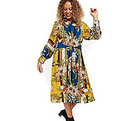 Evans - Yellow forest print shirt dress