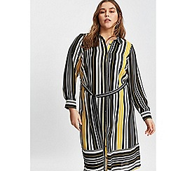Evans - Black and yellow stripe shirt dress