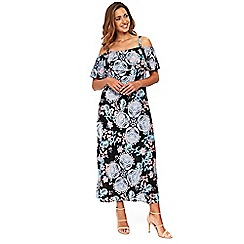 Evans - Frill overlay paisley print maxi dress