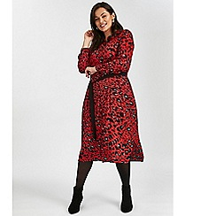 Evans - Red leopard print shirt dress