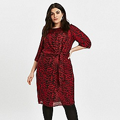 Evans - Red leopard print tunic dress