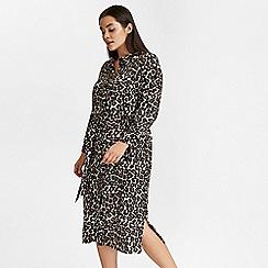 Evans - Black leopard print shirt dress
