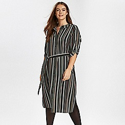 Evans - Khaki striped shirt midi dress