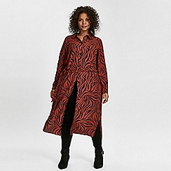 Evans - Red zebra print midi shirt dress