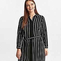 Evans - Black stripe midi shirt dress
