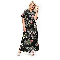 Evans - Black floral shirt maxi dress