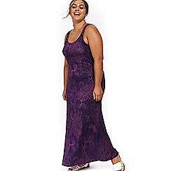 Evans - Purple spot floral maxi dress