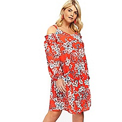 Evans - Red floral cold shoulder dress