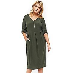 Evans - Khaki pocket zip shift dress