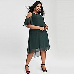 Evans - Green cold shoulder shift dress