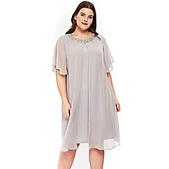 Evans - Grey trim split front shift dress
