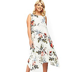 Evans - Ivory floral hanky hem dress