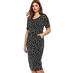 Evans - Black polka dot pocket tulip dress