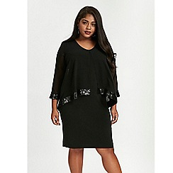 Evans - Black asymmetric overlay shift dress