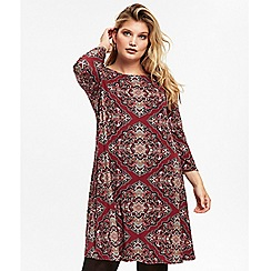 Evans - Red paisely print shift dress