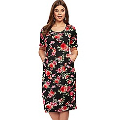 Evans - Black and pink floral print pocket dress
