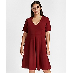 Evans - Red crepe fit and flare dress