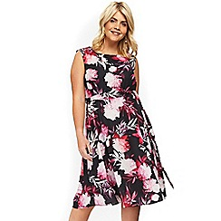 Evans - Black and pink tropical dress