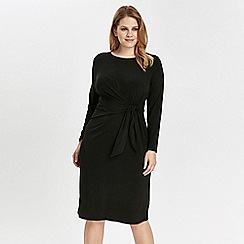 Evans - Black side tie wrap dress