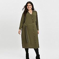 Evans - Khaki asymmetric midi shirt dress