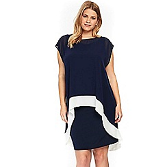 Evans - Navy overlay dress