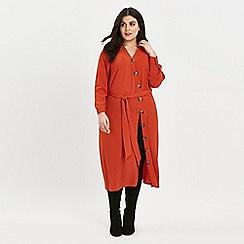 Evans - Rust asymmetric midi shirt dress