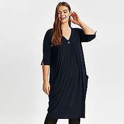 Evans - Navy V-neck button dress