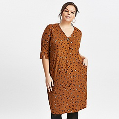 Evans - Rust animal print button neck dress