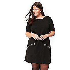 Evans - Black zip pocket tunic dress