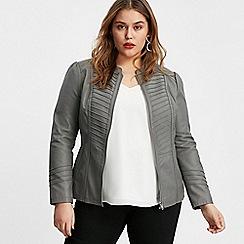 Evans - Grey Faux Leather Biker Jacket