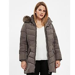 Evans - Grey padded faux fur coat