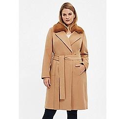 Evans - Camel faux fur collar wrap coat