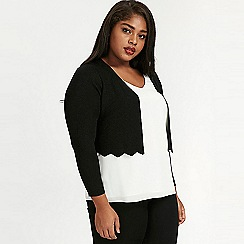 Evans - Black scallop hem shimmer shrug