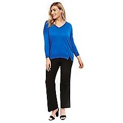 Evans - Blue exposed seam v-neck jumper