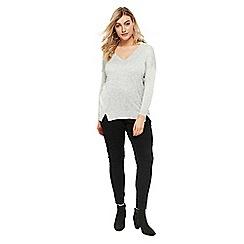 Evans - Grey exposed seam v-neck jumper