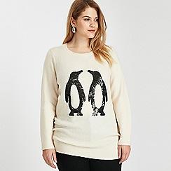 Evans - Ivory sequin penguin jumper