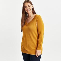 Evans - Mustard v-neck jumper