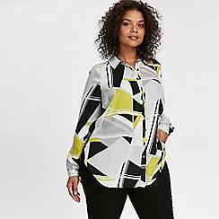 Evans - White geomtric print shirt