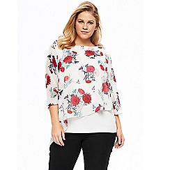 Evans - Ivory floral print overlay top