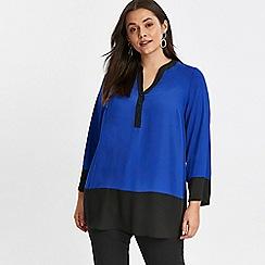 Evans - Blue colour block shirt