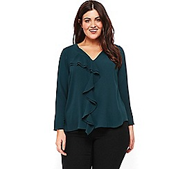 Evans - Pine green frill front top