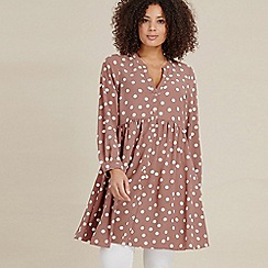 Evans - Brown Spot Tunic Top