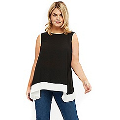 Evans - Black and ivory hanky hem top