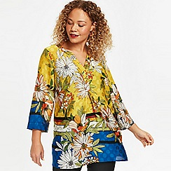 Evans - Yellow floral border shirt