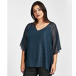 Evans - Blue textured spot print top