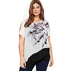 Evans - Boutique white monochrome lily print top