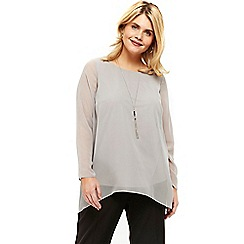 Evans - Grey hanky hem necklace top
