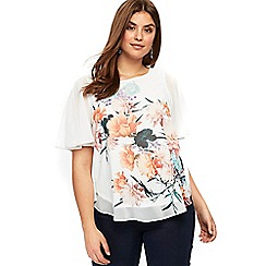 Evans - Multi coloured floral overlay top